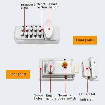 Cerradura De Puerta Digital Mecánica A Prueba De Agua Con Botón Pulsador De Aleación De Zinc Cerradura Inteligente