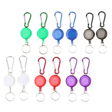 12pcs Retractable Key Chain Reel Recoil Pull Ring Belt Carabiner Holder Anti-Lost Snap Hook
