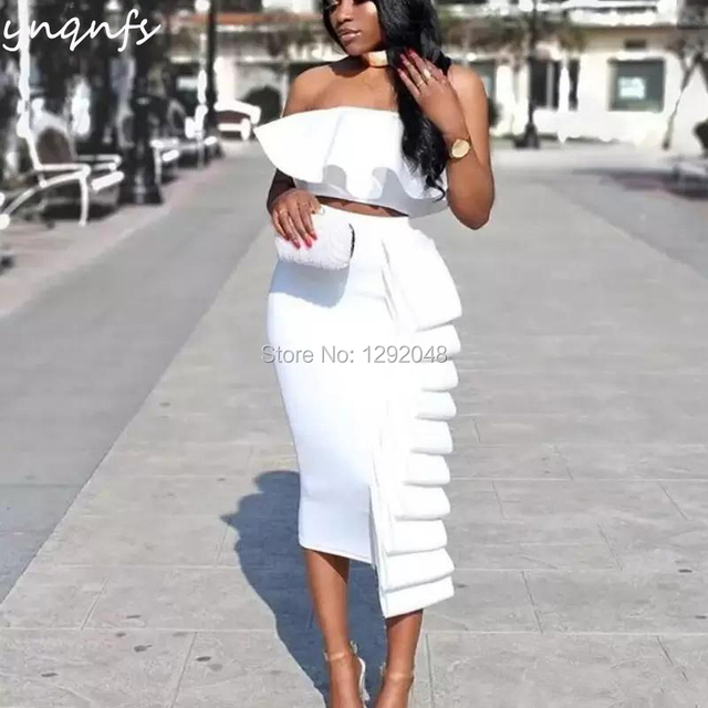 YNQNFS C31 White Party Dress Satin Tea Length 2 Piece Ruffles Robe Cocktail Dresses 2019