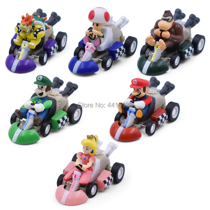 6 pcs SET Super Mario Kart Pull Back Car Luigi Bowser Koopa Donkey Kong Princess Peach Toad Mushroom Car PVC Figure Toy for Kids in Action Toy Figures from Toys Hobbies