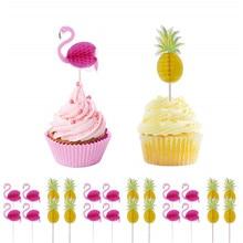 10 шт., вечерние украшения с фламинго, гавайский фламинго, ананас, коктейльное свадебное украшение, украшение для дня рождения, украшение для детей-C