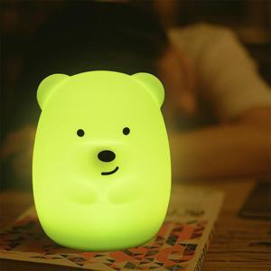 Image 4 - Yeni 7 renkler ayı tavşan LED USB hayvan gece lambası silikon yumuşak karikatür çocuk bebek kreş lamba led gece lambası