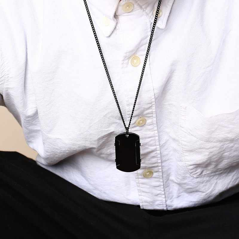 Engravable Stainless Steel Men's Dog Tag Pendant Necklace in Black Men Jewelry with 20 Inch Chain