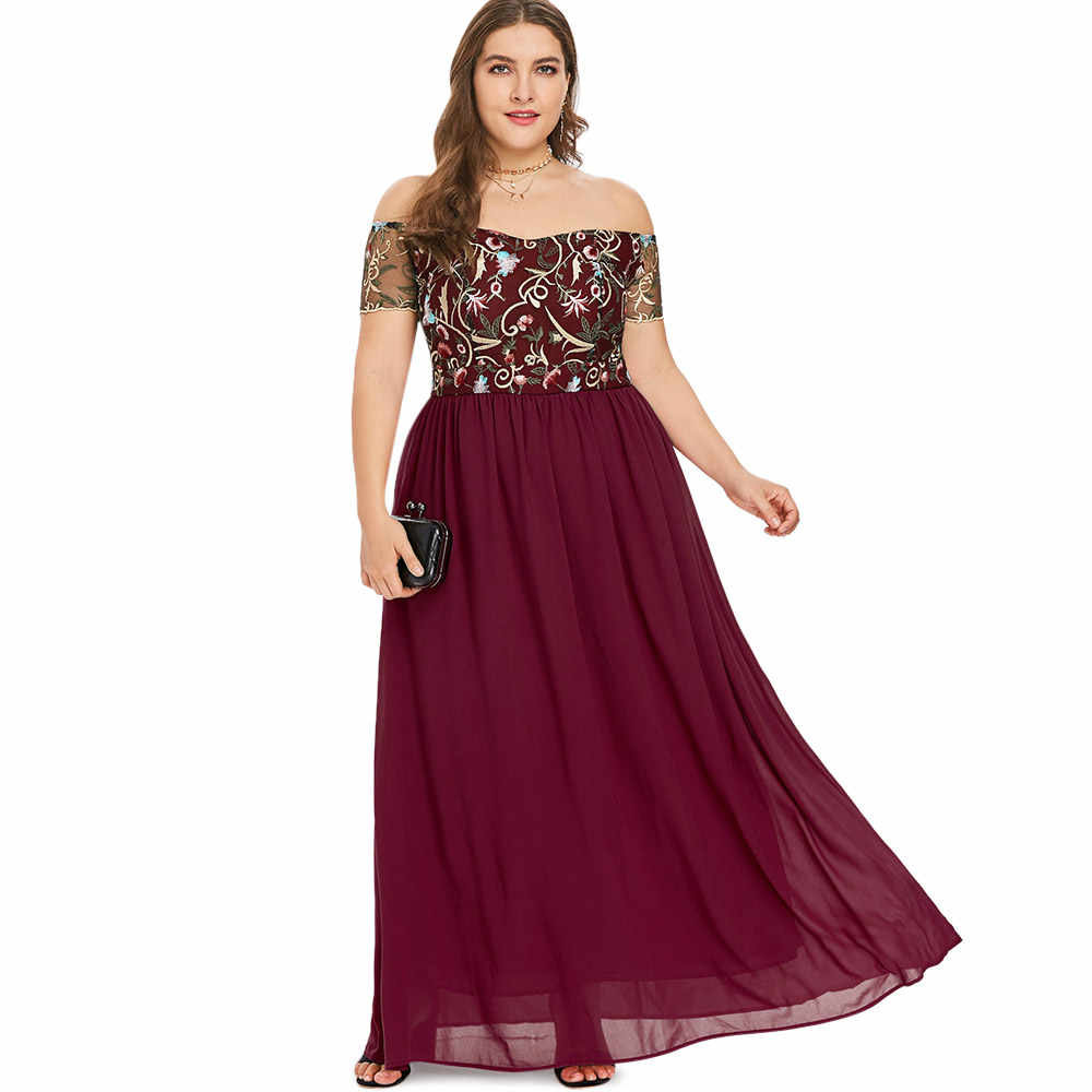 34f6df8b91 STYLE Plus Size Sexy Off The Shoulder Floral Embroidery Women Maxi Dress  Chiffon Short ...
