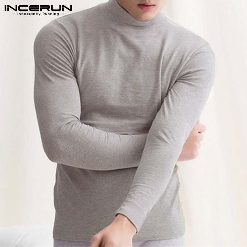 INCERUN 2019 Long Sleeve T Shirt Men Slim Fit Turtleneck Thermal Underwear Tops Solid Warm Undershirt Casual Men T-shirt S-5XL