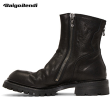New Arrival Double Zip Motorcycle Boots Men Full Grain Leather Shoes Man Trendy Retro Fashion Winter