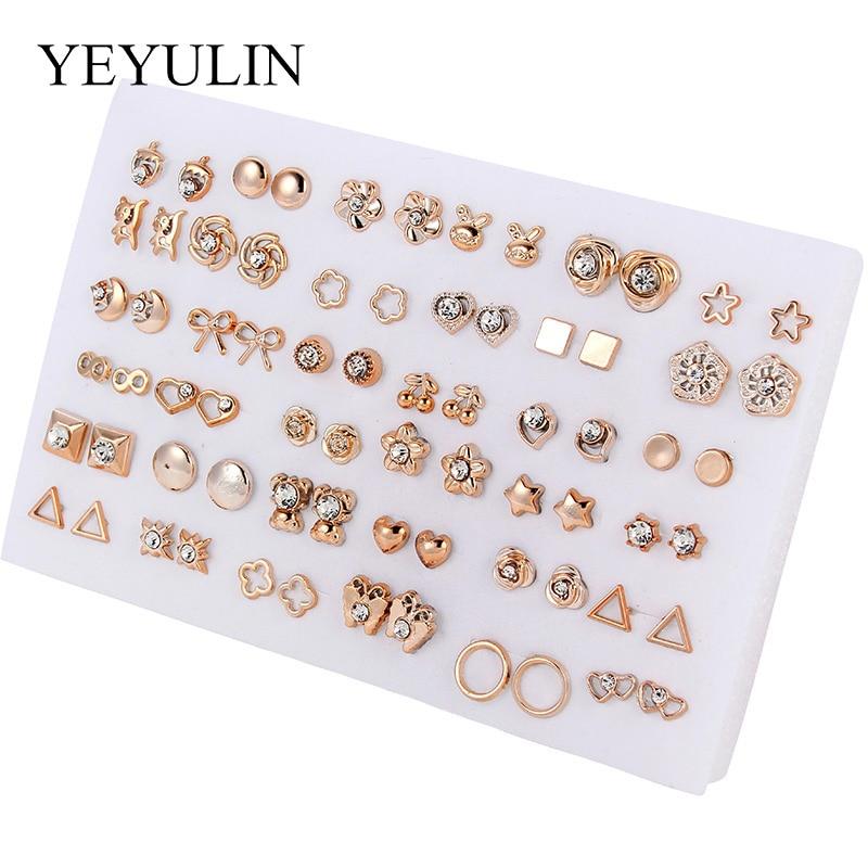 Wholesale 36Pairs/18pairs Mixed Styles Rhinestone Sun Flower Geometric Animal Plastic Stud Earrings Set For Women Girls Jewelry