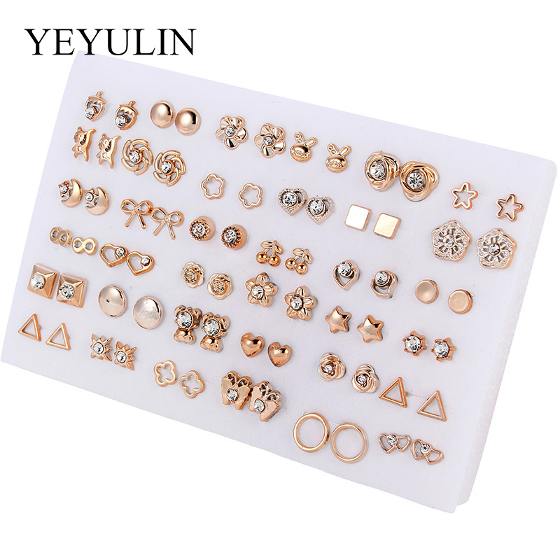36Pairs 18pairs Earrings Mixed Styles Rhinestone Sun Flower Geometric Animal Plastic Stud Earrings Set For Women
