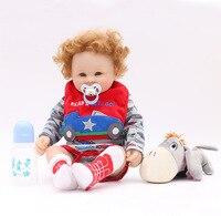 otardDolls Lifelike Full Silicone Reborn Boy toys Birthday Xmas gifts Wavy Hair Soft Vinyl Newborn Babies Doll