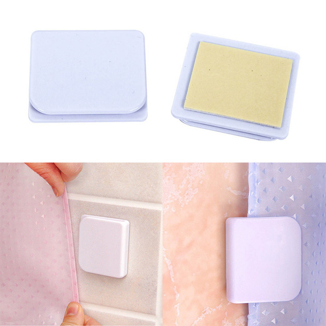 2pcs Curtain Clips Anti Splash Spill Stop Water Leaking Guard Bathroom Seamless Self Adhesive Shower Curtain Clips Buckle