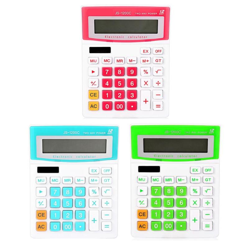 Mini 12 Digit Calculator Big Button Calculating Tools Office Stationery