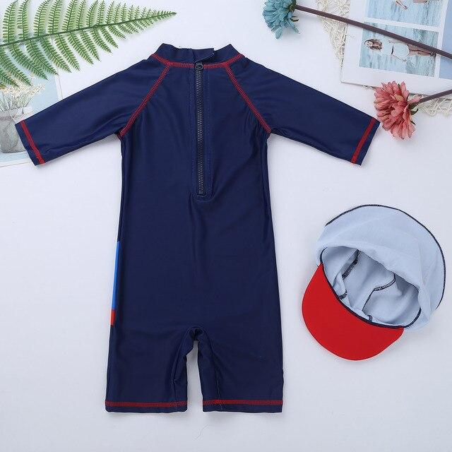 TiaoBug, bañador para niños de una pieza con estampado de tiburón/ballena, bañador con cremallera, traje de baño de manga corta, traje de baño con protección contra erupción y gorro de baño