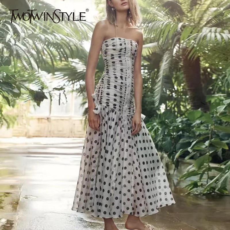TWOTWINSTYLE Sexy Black Dot Long Dress Women Sleeveless High Waist Ruched Off Back Elegant Female Clothing