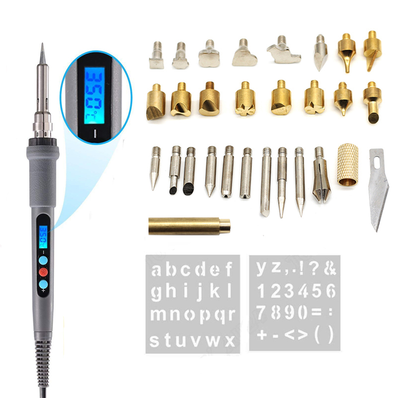 60W AC220-240V Digital Display Wood Burning Soldering Irons Crafts Tools Pyrography Pen Machine Kit Set Eu Plug LCD Display