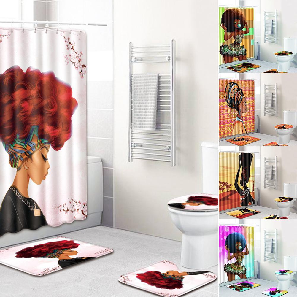 Asypets 4pcs Set Stylish African Women Series Pattern Bath Set