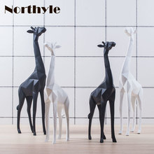 Modern paper folding style animal giraffe statue white figurine of home decoration black sculpture house ornament