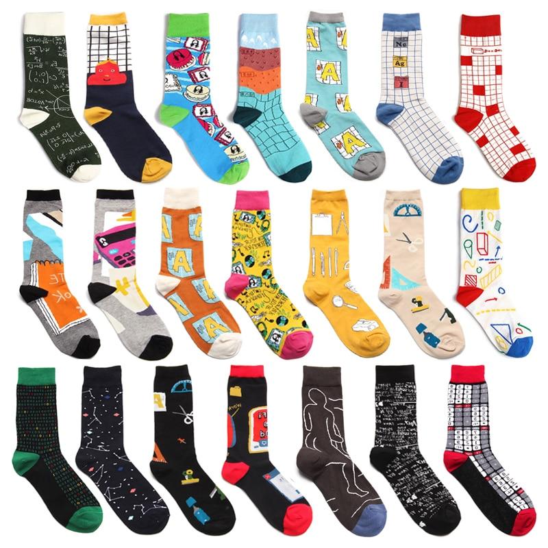 Men Socks Funny Alphabet Numbers School Supplies Cartoon Happy Harajuku Hip Hop Street Style Casual Skate Cotton Socks Fashion