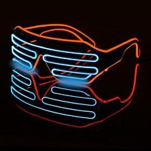 Led óculos luminosos dia das bruxas brilhante neon festa de natal bril piscando luz brilho óculos de sol de vidro festival suprimentos trajes
