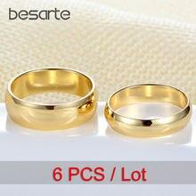 Мужские и женские обручальные кольца 6 шт оптовая продажа Золотое