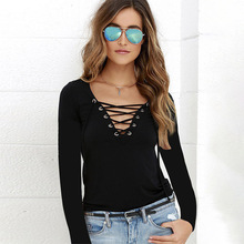 Summer New Womens Wear Sexy V-neckline with Solid-color Long-sleeved T-shirt V-Neck  Solid