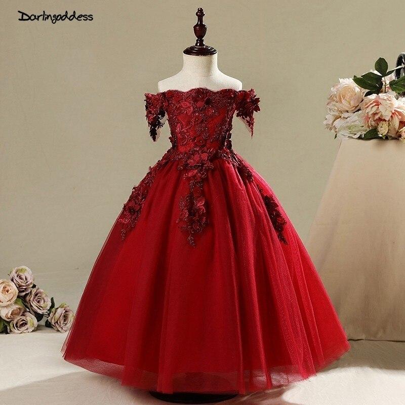 Elegant Flower Girl Dresses for Weddings Ball Gown Off Shoulder Pageant Dresses for Girls Kids Long Prom Dress vestido daminha