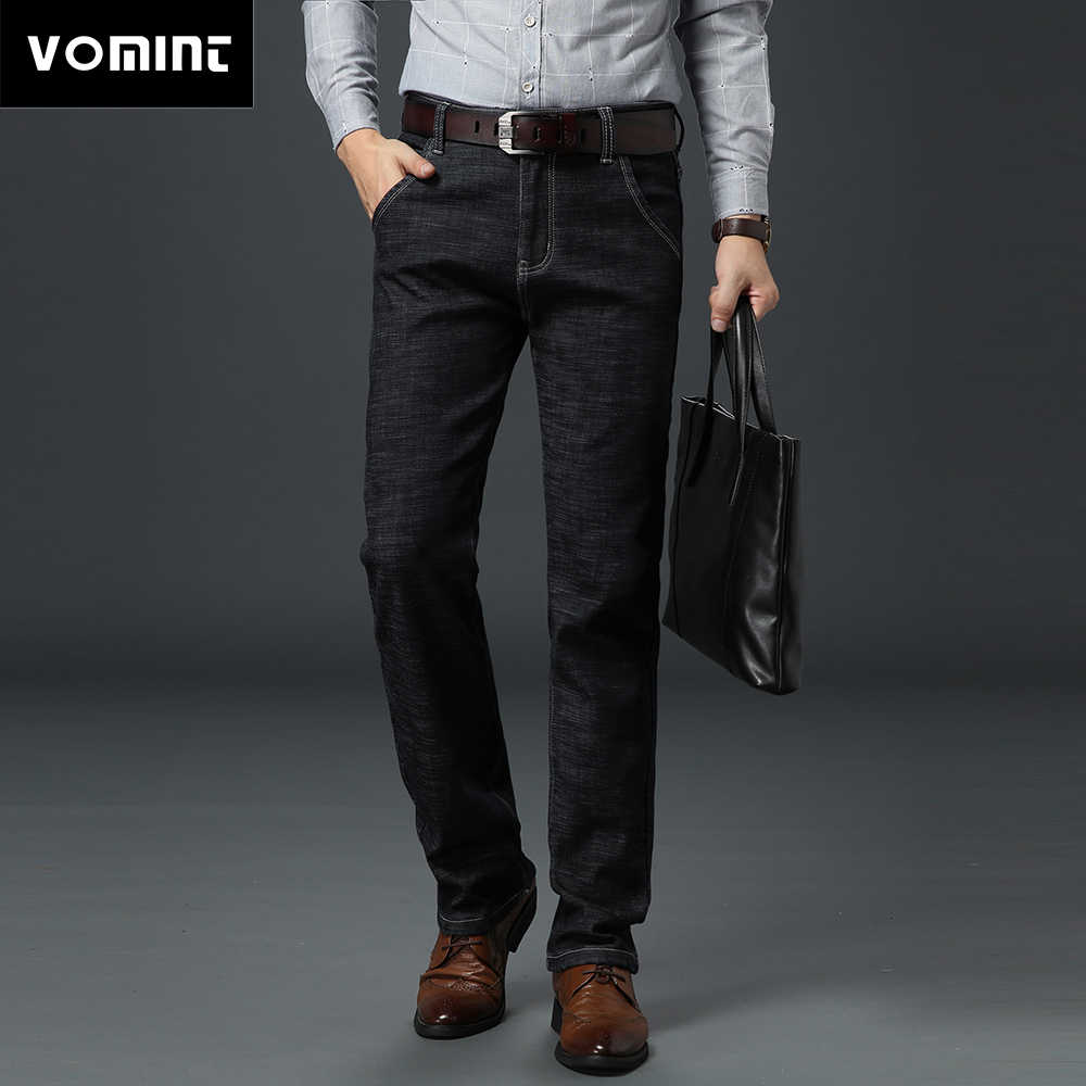 Vomint Men basic style casual Jeans Summer Thin elastic jean hot sale Original straight leg light blue color Men jeans Plus Size