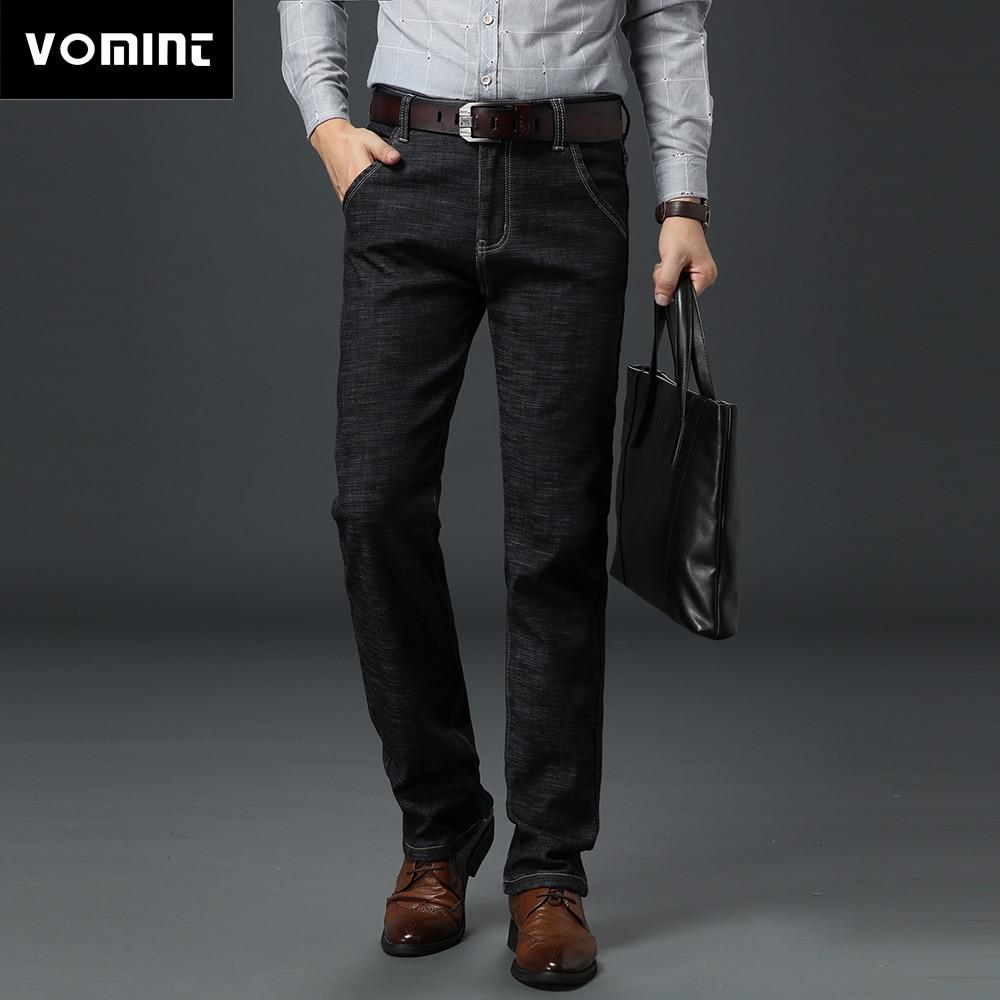Vomint Men Basic Style Casual Jeans Summer Thin Elastic Jean Hot Sale Original Straight Leg Light Blue Color Men Jeans Plus Size