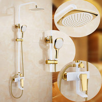 gold white shower set European style brass mixer tap wall mounted bathroom faucet mixed water valve home shower system