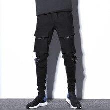#2308 Black Streetwear Cargo Pants Men Multi Pockets Pants Hip Hop Pants Patchwork Fake Two Piece Men Jogger With Side Pockets