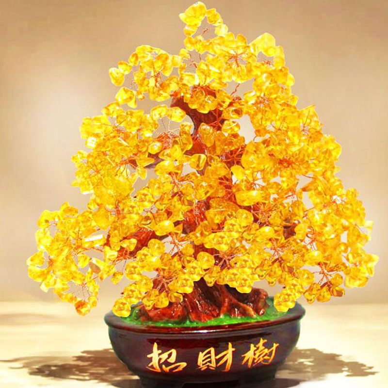 Crystal Lucky Money Fortune Tree LUCKY Fortune Wealth Chinese Golden Home Office Decoration Best Gifts Tabletop Ornament Crafts