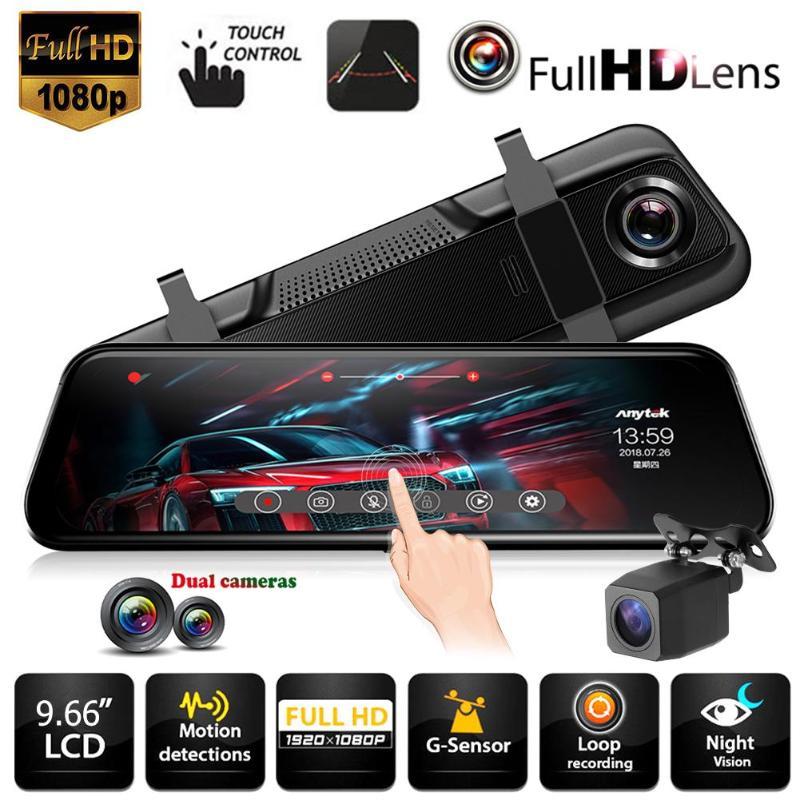 Anytek T12 9 66 Touch Screen Car Rearview Mirror DVR Camera 1080P Full HD Dual Lens