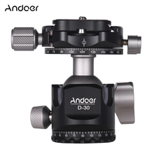 Andoer D-30, двойная панорамная головка с ЧПУ, шаровая Головка из алюминиевого сплава, двойной u-образный вырез, низкий центр тяжести для штатива, монопод