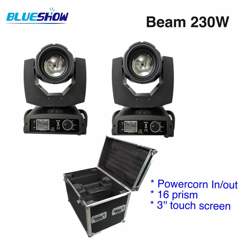 2 lights+1 Flightcase, power corn 230W Sharpy 7R LED Beam Moving Head Light 16 prism DMX Stage Lighting Disco DJ Club party beam 230w clay paky sharpy moving head lyre beam 7r moving head 230 moving head flycase dmx stage dj disco party stage lighting