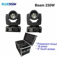 2 lights+1 Flightcase, power corn 230W Sharpy 7R LED Beam Moving Head Light 16 prism DMX Stage Lighting Disco DJ Club party
