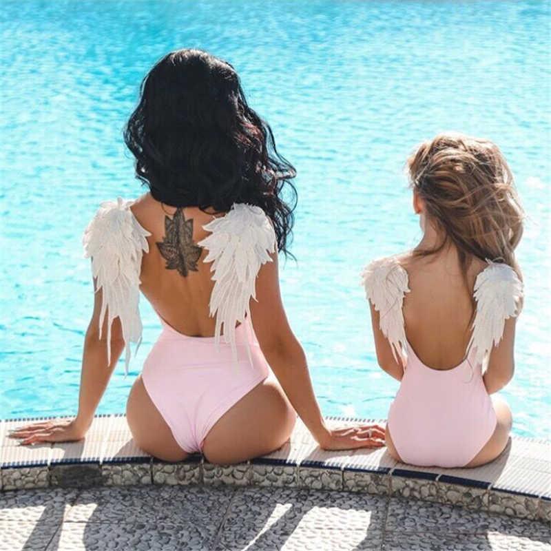 79156cf0e45bd ... Family Matching Swimwear Angel Wing Swimsuit Mother Daughter Swimsuits  Bikini Solid Backless Ladies Beachwear Monokini Swimsuit ...
