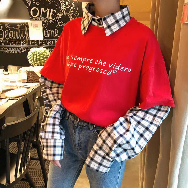 NiceMix Spring Harajuku Sweatshirt Women Patchwork Pullovers Fake 2 Pieces Print Letters Plaid Jumpers Pull Femme Jersey Mujer