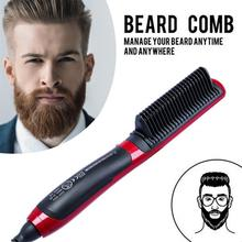 New Portable Mens Fast Beard Smooth Comb Straightener Multifunction Hair Curler LCD Monitor Ceramic Safe