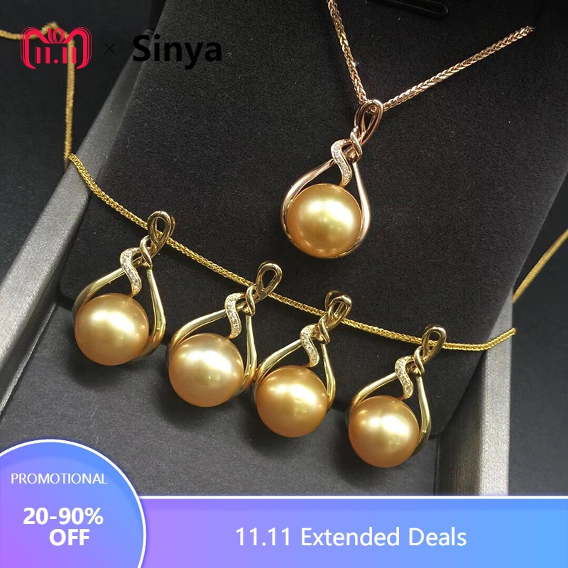 Sinya 18K Gold Real diamond pendant with southsea gold pearl fine necklace choker include au750 gold chains high quality