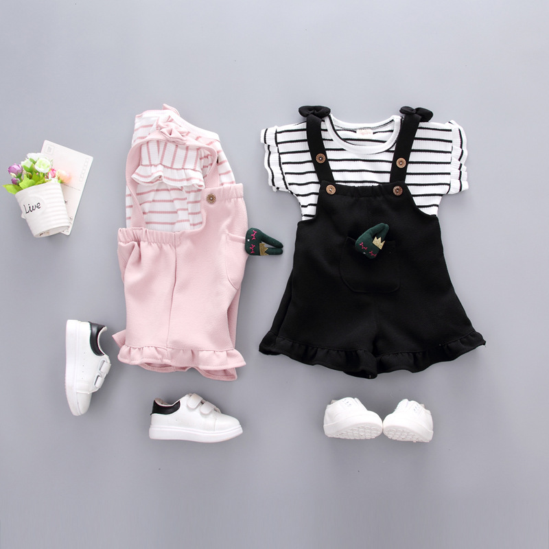 0 1 2 year old 3 year old girl summer dress short sleeved suit female baby summer trousers shorts two sets of baby clothes in Clothing Sets from Mother Kids