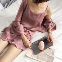 2019 Summer Women Casual Ruffles Cotton Polyester 3 Pcs Pajamas Sets Fashion Sleeveless Sleepwear
