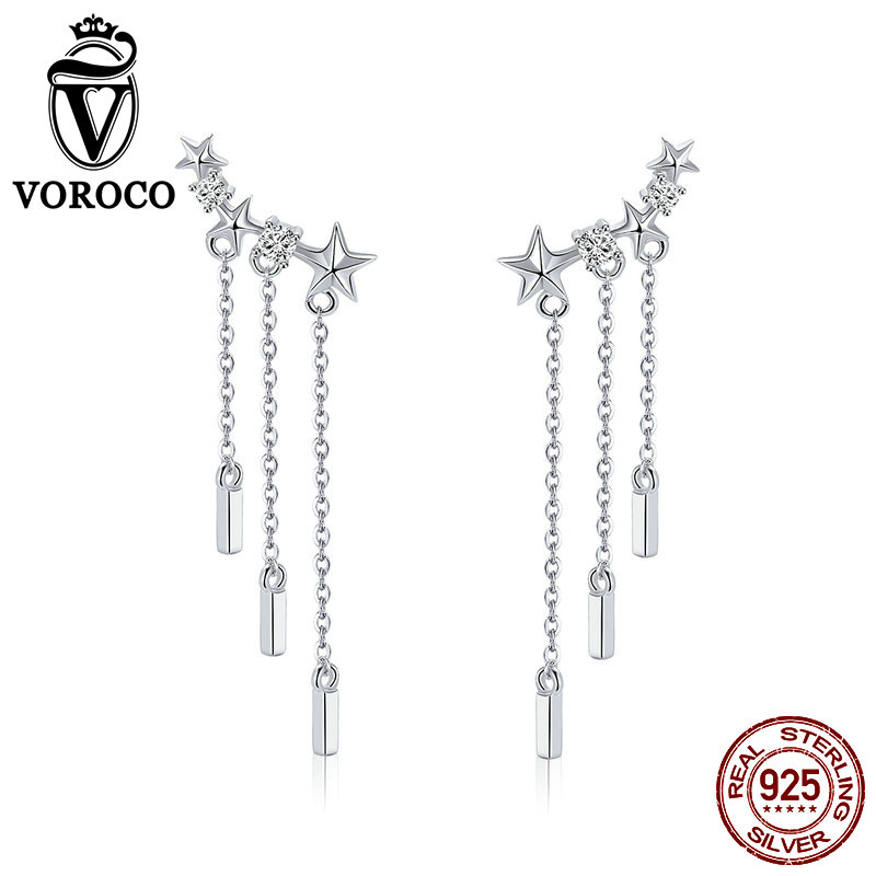 Able Voroco 925 Sterling Silver Earings Meteor Love Earrings For Women Wedding Party Earrings Fashion Jewelry Female Gift Bke399 Exquisite In Workmanship