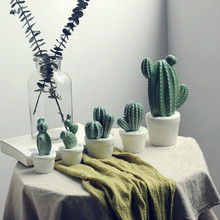 Nordic Ceramic potted Cactus figurine porcelain christmas decorations for home feng shui