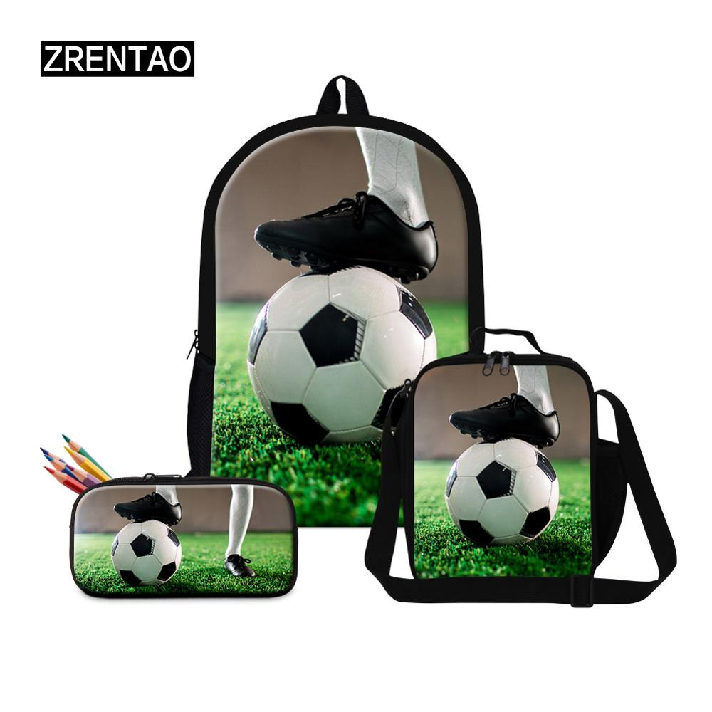 3 pièces/ensembles maternelle bébé garçons filles école sac à dos ensemble Bookbag avec lunchbagfairy ilbox écolier grands cartables football imprimer