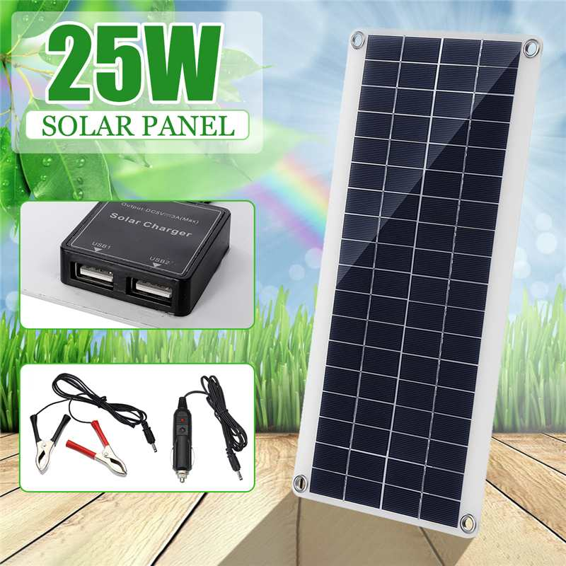 25W 12V Solar Panel Double USB Portable Power Bank Board External Battery Charging Solar Cell Board Crocodile Clips Car charger25W 12V Solar Panel Double USB Portable Power Bank Board External Battery Charging Solar Cell Board Crocodile Clips Car charger