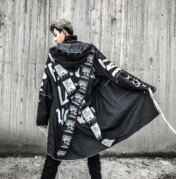 Пальто для мужчин 2019 Весна крест лента Высокая уличная мода печать хип хоп панк стиль длинный Тренч с капюшоном куртка мужская Свободная ку...
