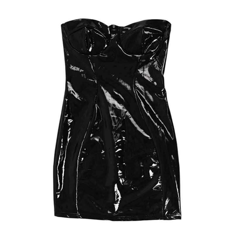 Rosetic, сексуальное, отражающее платье, женское, летнее, с открытой спиной, без бретелек, готическое, искусственная кожа, панк, черное, для девушек, Клубное, Мини, облегающее платье