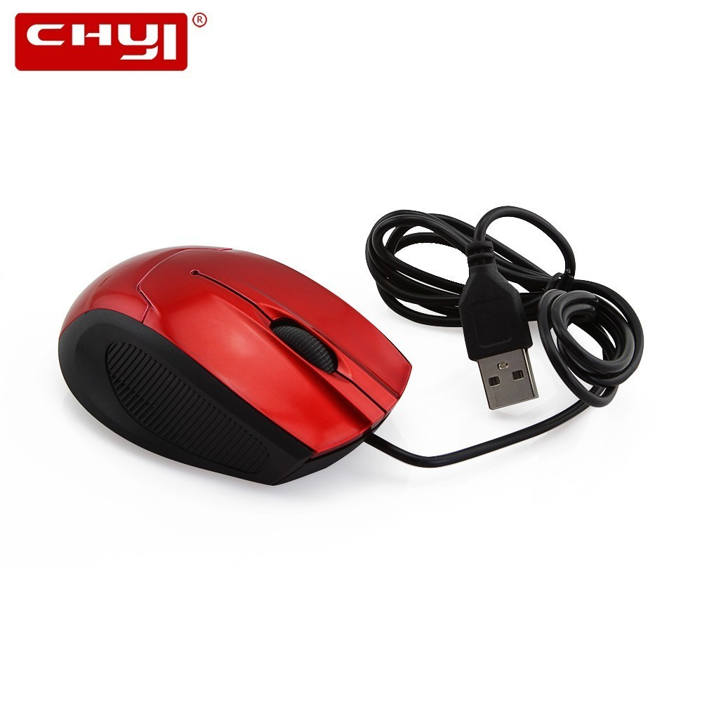 CHYI Wired Mini Computer Mouse Cheap Ergonomic 3D Optical Gaming Mause With Usb Cable Red Blue 1600DPI PC Gamer Mice For Laptop image