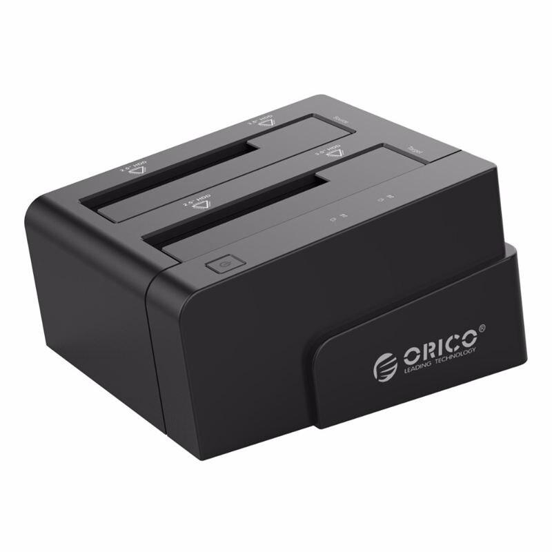 Orico 6628Us3-C 3.5 pouces double baie Usb 3.0 à Sata Hdd boîtier ssd Station d'accueil disque dur outil gratuit duplicateur 16 To avec Offli