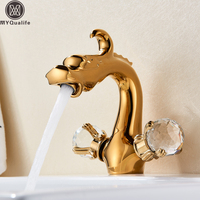 Chinese Dragon Basin Faucet Bathroom Vessel Sink Mixer Tap Deck Mounted Dual Crystal Handle Hot Cold Water Mixers