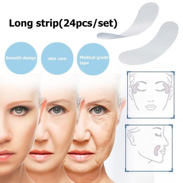 12/27/24 piezas cara delgada pegatinas EVA Anti-arrugas Anti-envejecimiento arrugas parches de las líneas de la frente cuello de la barbilla de cintas V cara Shaper